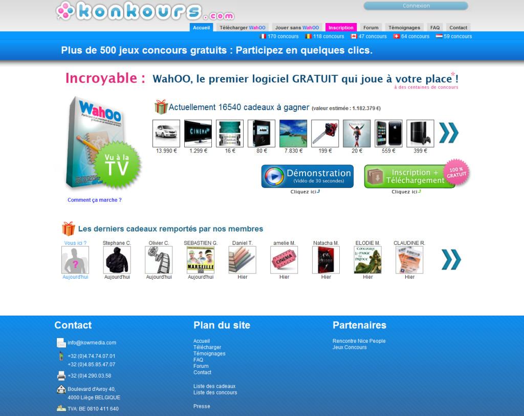 Plateforme du site Konkours.com