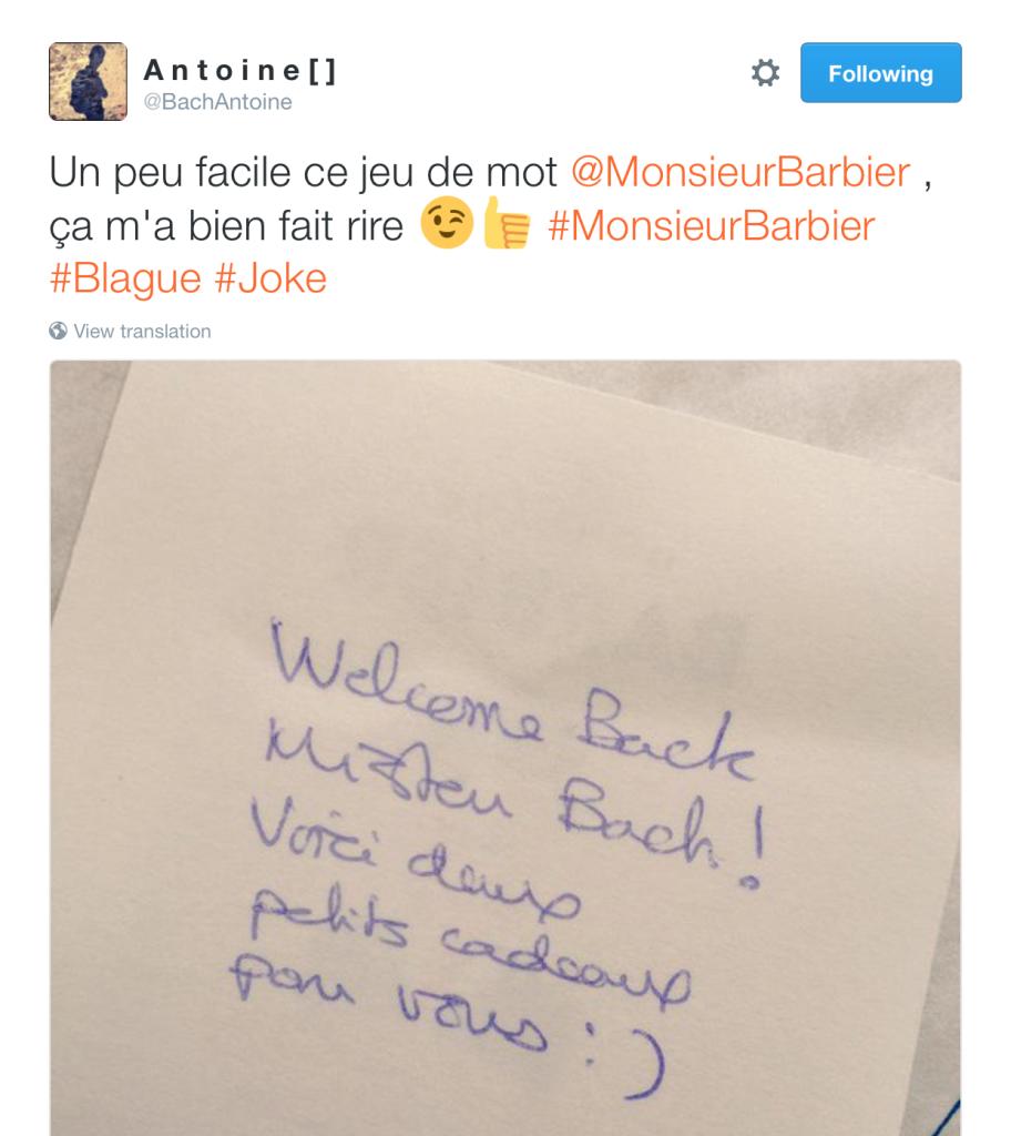 Tweet de l'époque d'Antoine B. vers Monsieur Barbier