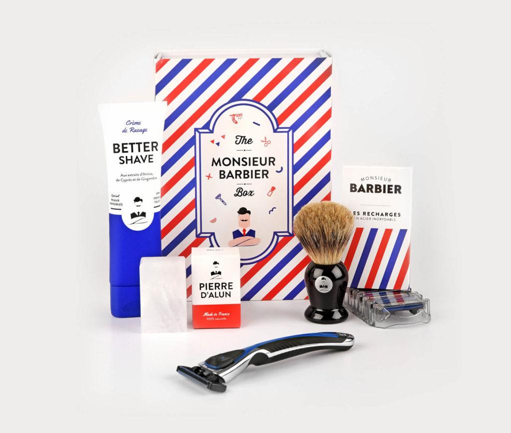 Magnifique coffret de rasage de Monsieur Barbier, avec blaireau, crème et pierre d'alun Made in France
