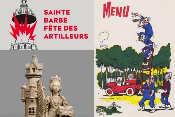 Invitation à la fête des artilleurs, menu de la fête Sainte Barbe pour les sapeurs-pompiers, et Sainte Barbe en personne !