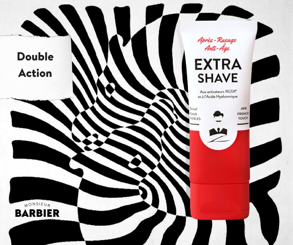 Extra-Shave, l'après-rasage anti-âge de Monsieur Barbier pour rajeunir à chaque rasage.