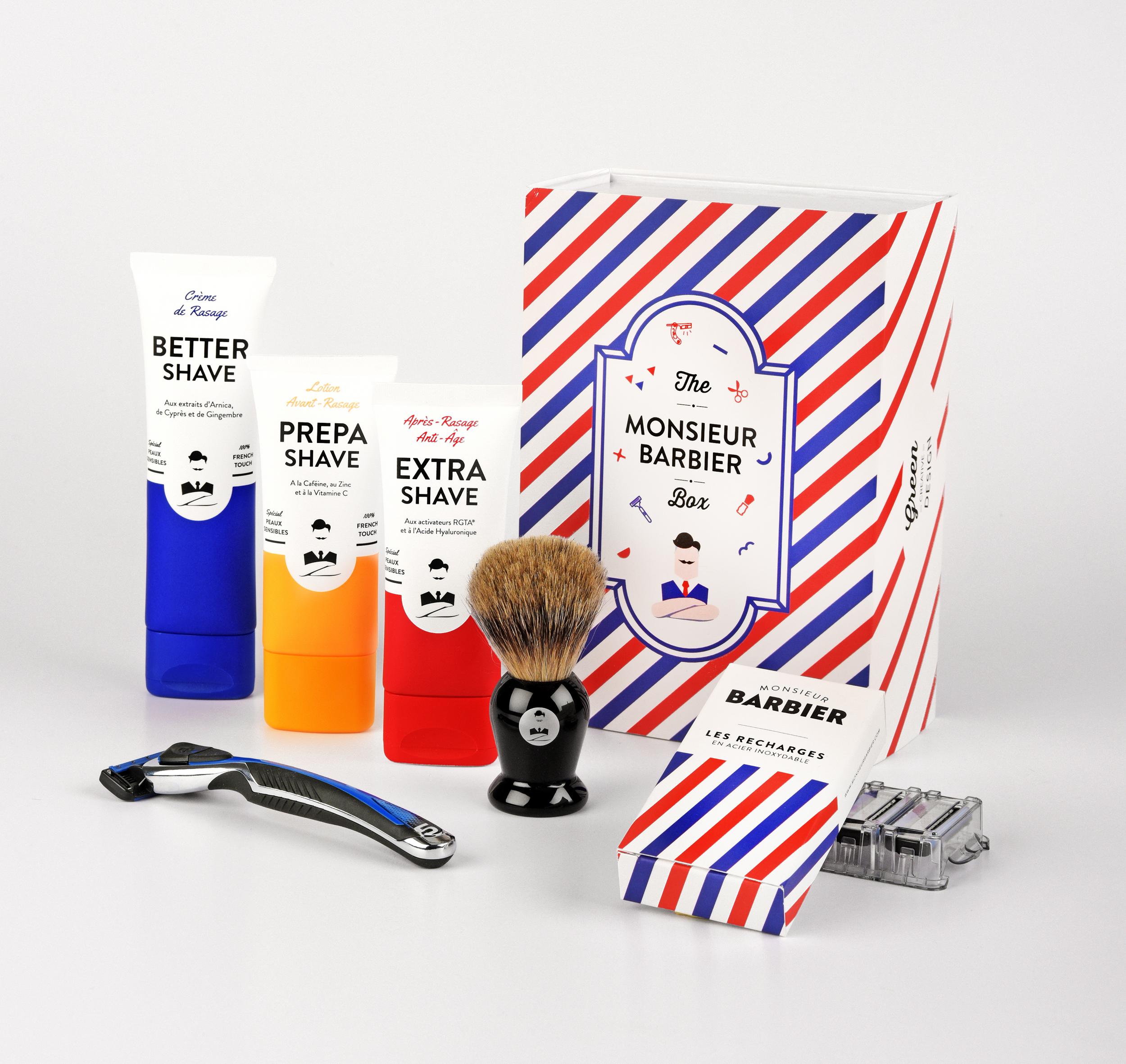 Coffret de rasage Monsieur Barbier : Blaireau, avant-rasage, crème de rasage, après-rasage, et rasoir au top ! C'est Super. C'est Super-Daddy