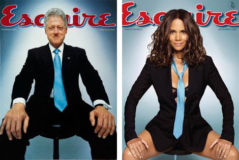 Couvertures d'Esquire avec Bill Clinton et Hally Berry sur le thème femmes et pouvoir