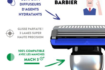 Lames de rasoir anti-irritations Challenger par Monsieur Barbier, compatibles avec les manches Mach 3