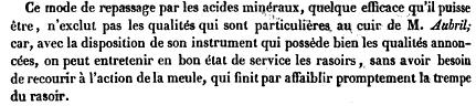 Texte de la chambre de commerce sur les brevets concernant le rasage et la coiffure. Inventeur: Monsieur Joseph Aubril