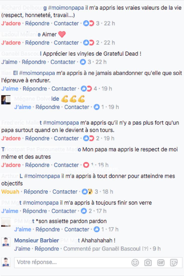 commentaires facebook pour la Fète des pères, #moimonpapa