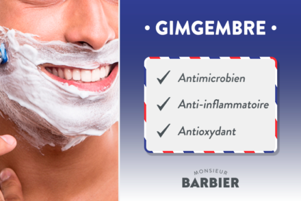Gingembre antioxydant anti-inflammatoire, antibactérien crème de rasage cosmétique monsieur barbier